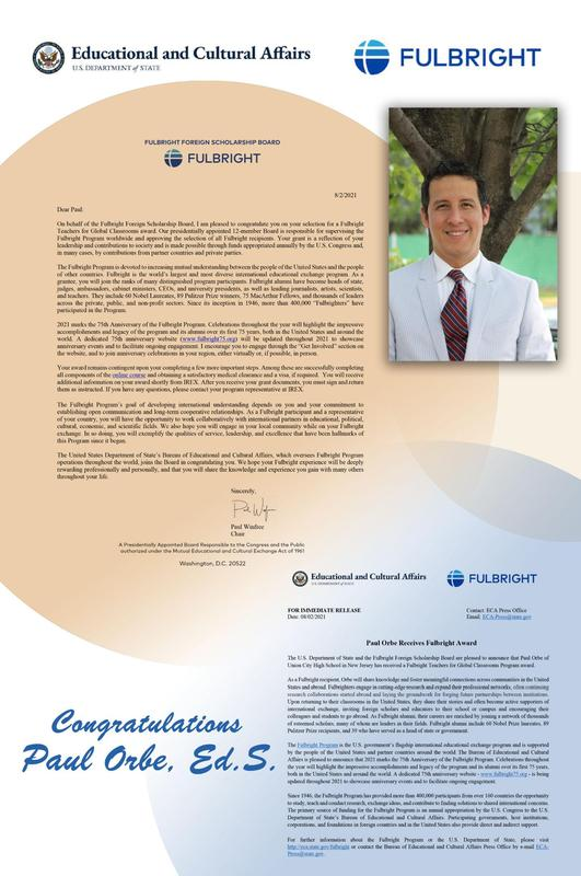 Fulbright acceptance letters for Paul Orbe