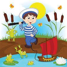 Child standing along a lake with a net while frogs are watching him.  Red boat in water and cattails are growing on the path.