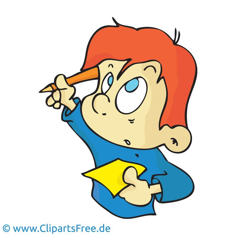 Clip art image of student with paper and pencil