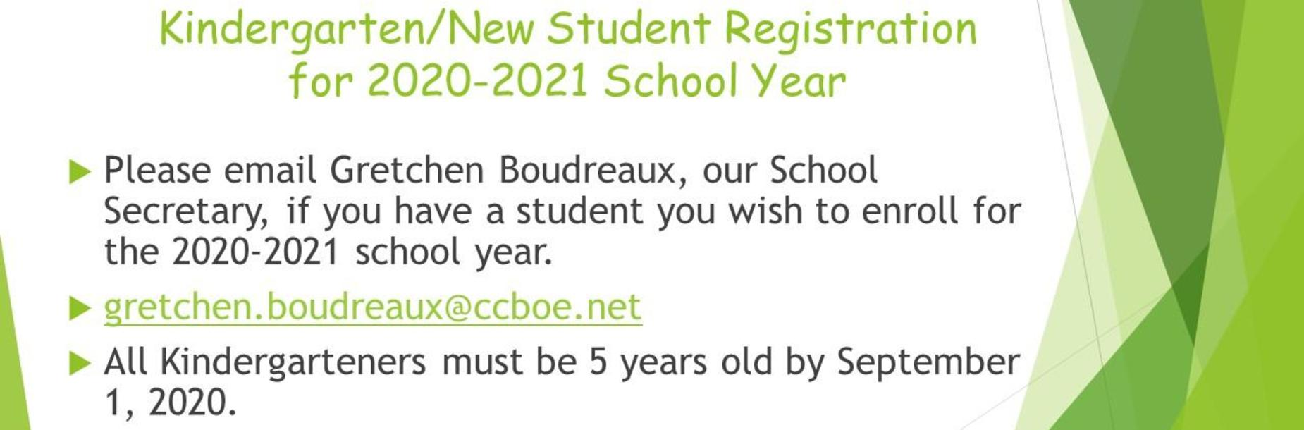 Kindergarten/New Student Registration 2020-21