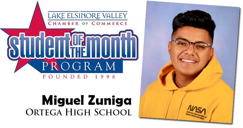 Miguel Zuniga, Ortega HS, Student of the Month Honoree for September 15, 2020.