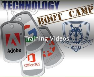 graphic of dog tags with GHS logo reads technology boot camp training videos
