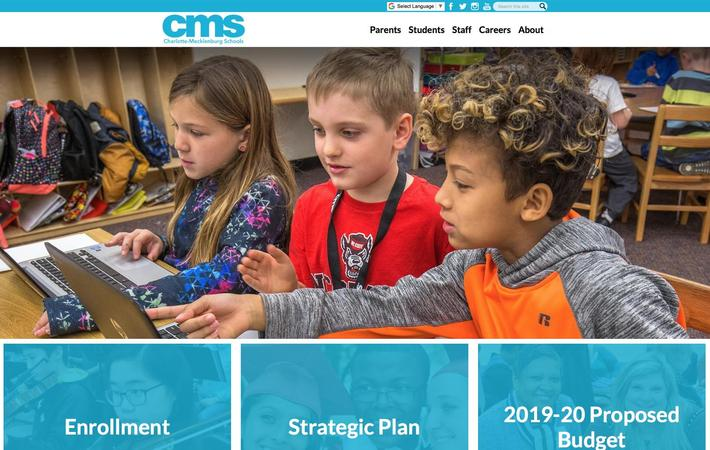 Charlotte-Mecklenburg School District website on desktop