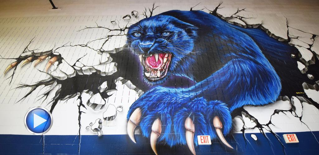 Mural of panther on FHS Gym wall