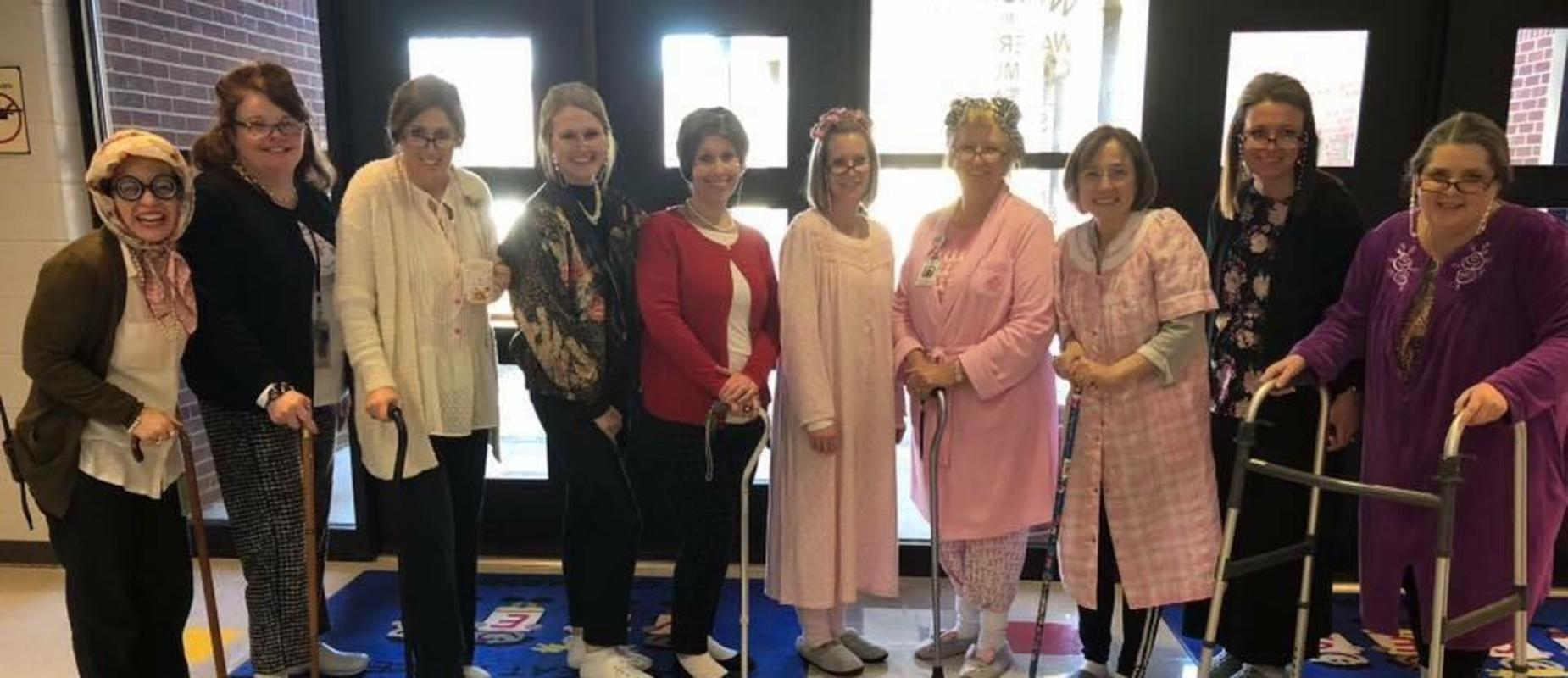 Teachers on the 100th day of school
