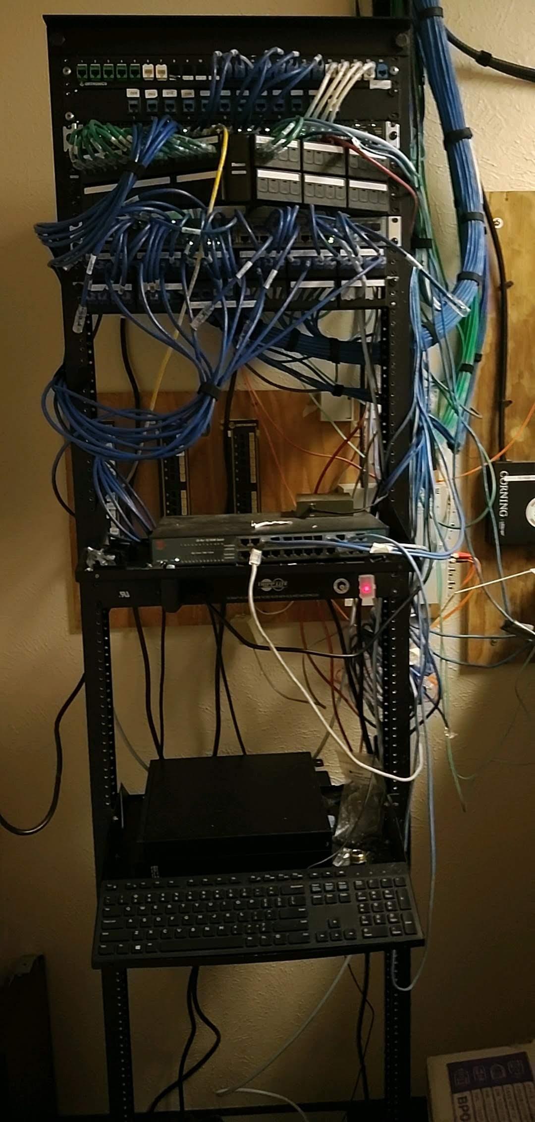 Network Closet black cables