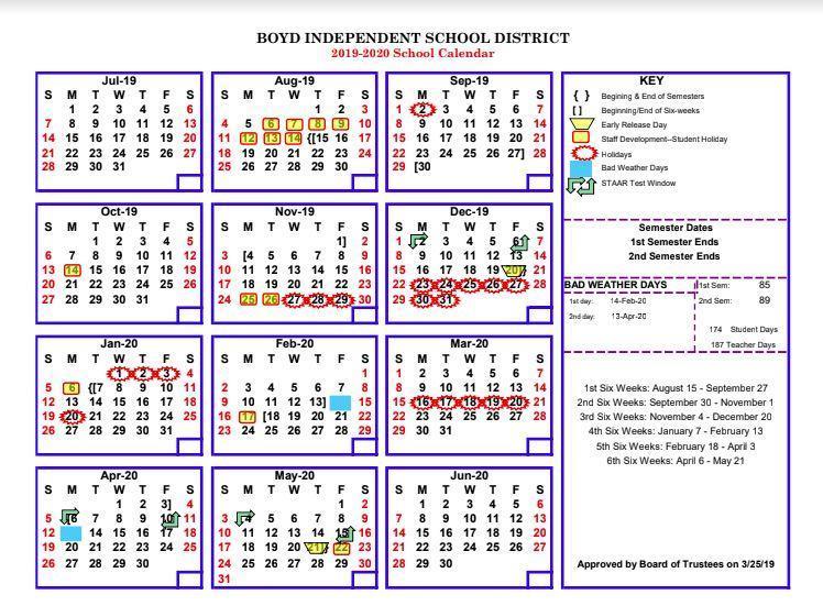 Boyd ISD 2019-2020 Adopted Calendar Thumbnail Image