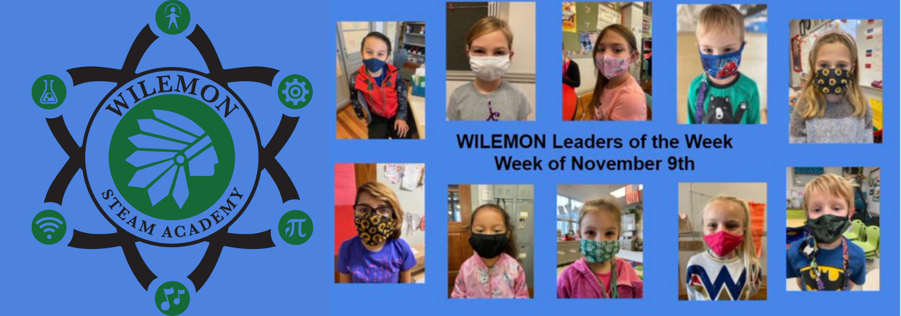 collage of young students wearing facemasks that are leaders of the week