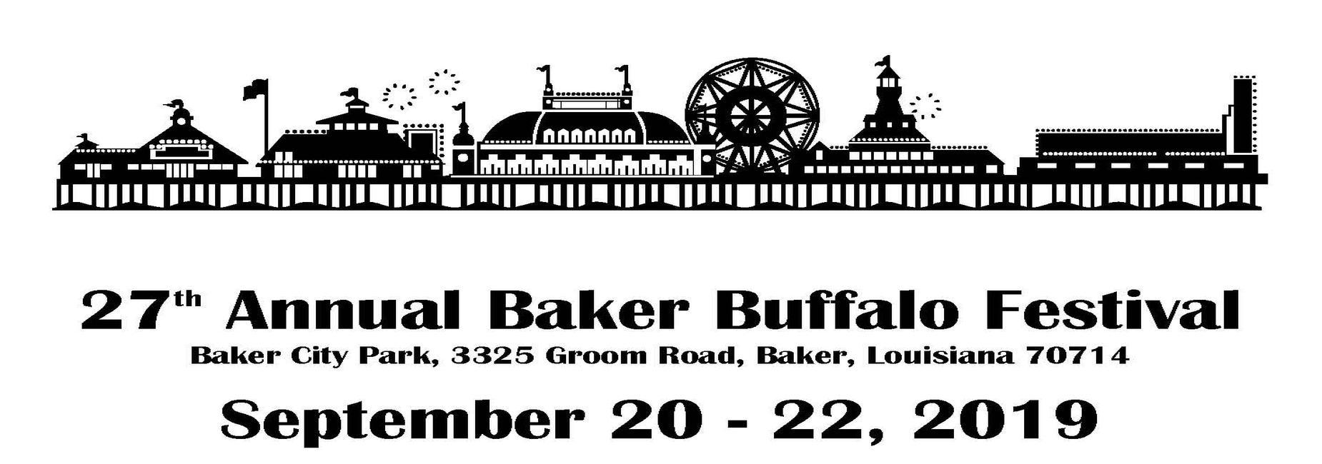 A poster that is advertising the 2019 Baker Buffalo Festival scheduled for September 20-22, 2019