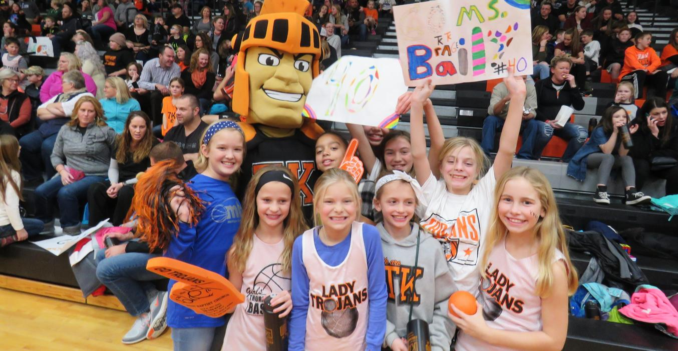 Page students cheer on their teachers at the Battle of the Buildings.