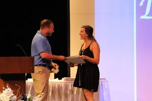 Mr. Broussard presents the American Red Cross Blood Services High School Scholarship Award