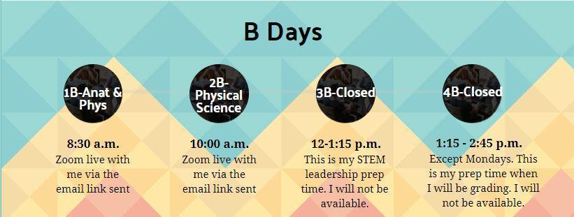 B-Day Schedule - 1B: Anat Phys live at 8:30 a.m.; 2B: Physical Science live at 10:00 a.m.; 3B: Closed; 4B: Closed but Office Hours on Mondays!