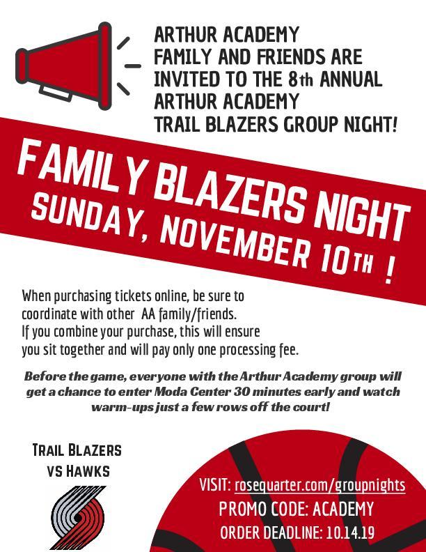 JOIN US FOR THE 8TH ANNUAL ARTHUR ACADEMY TRAIL BLAZERS GROUP NIGHT! Thumbnail Image