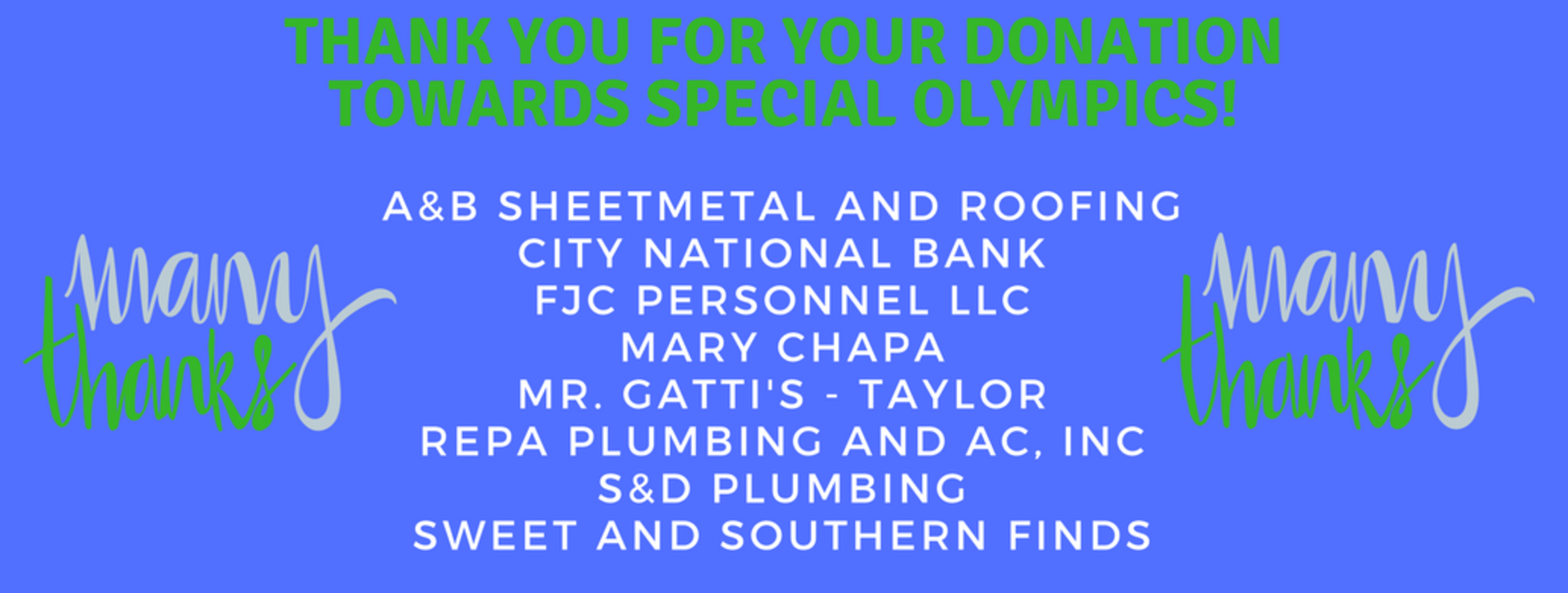 Thank you to Special Olympics sponsors