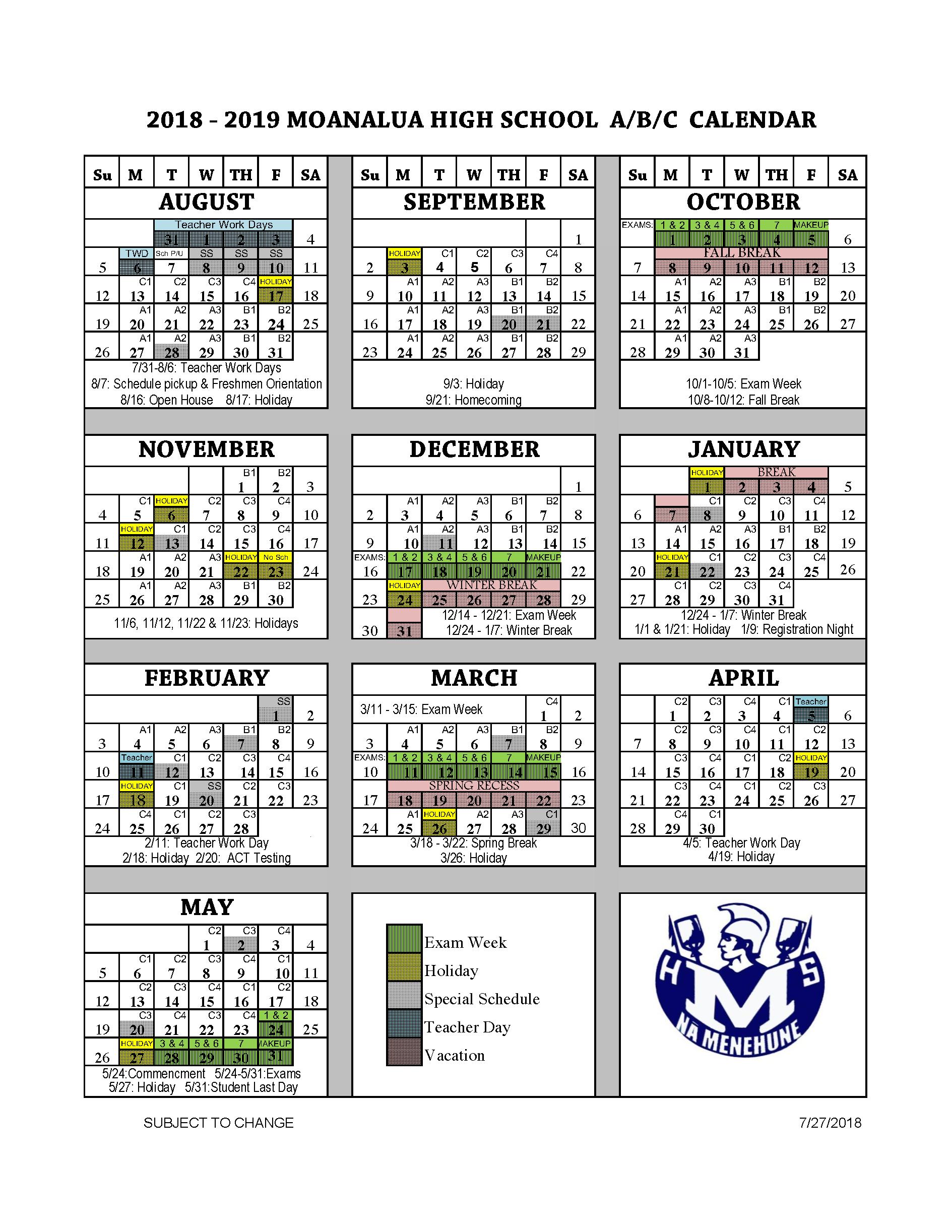 school year calendar a b c