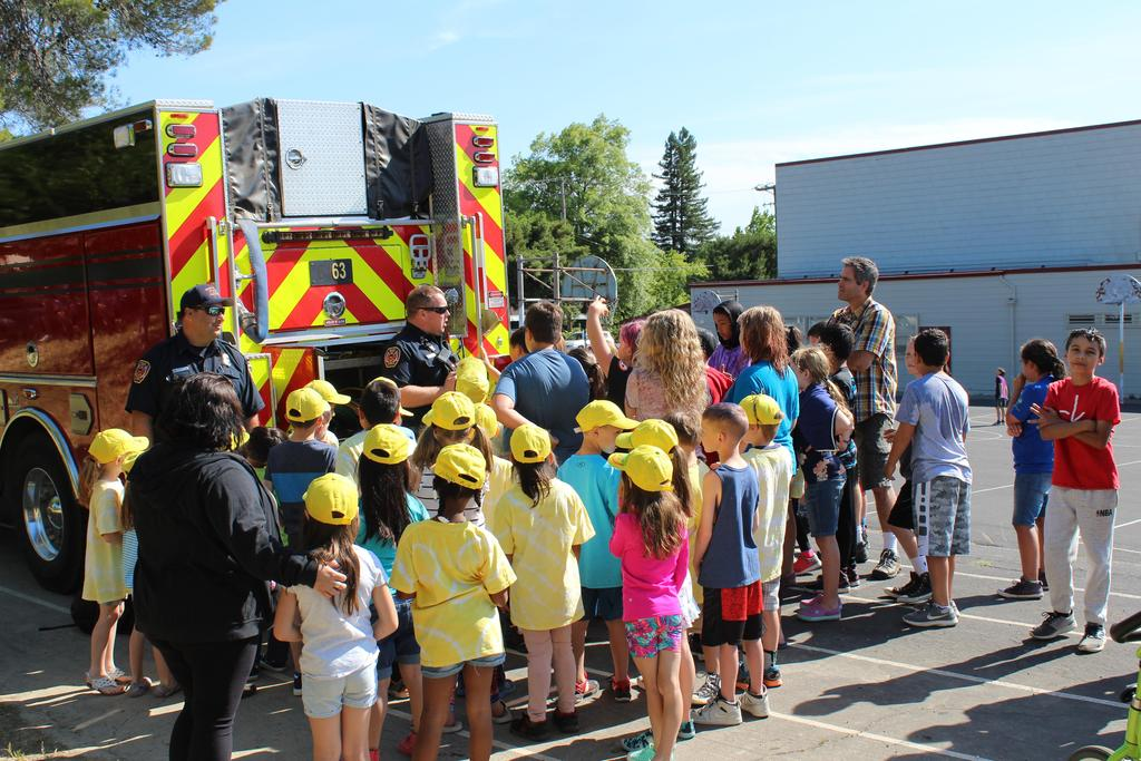Field day, students learning about the fire department