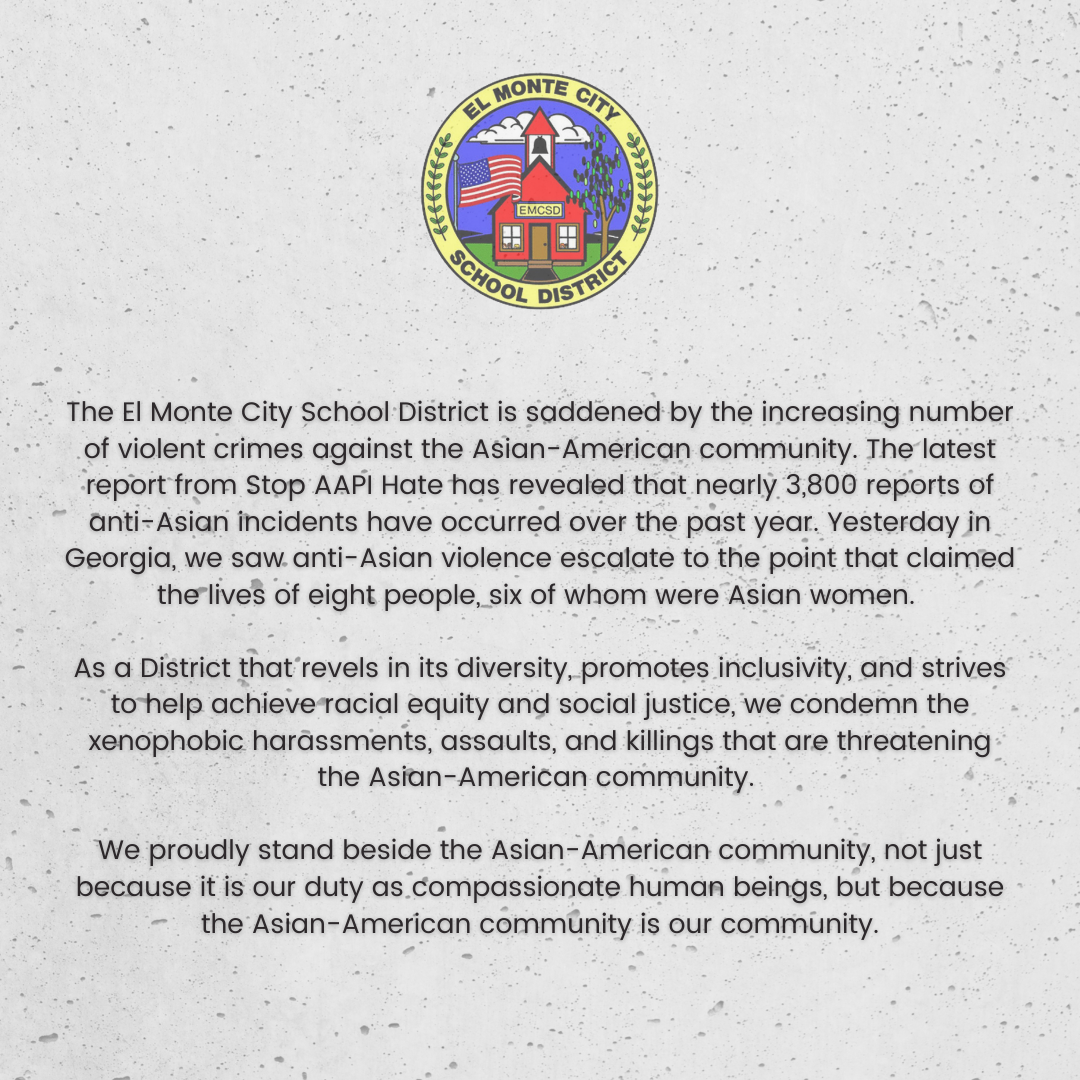 Graphic of EMCSD statement against Anti-Asian hate in English