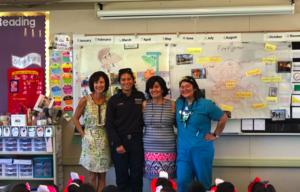 Principal Liz Hebstreith, Amy Sumida, Mrs. Sumida, and Judy Sumitt
