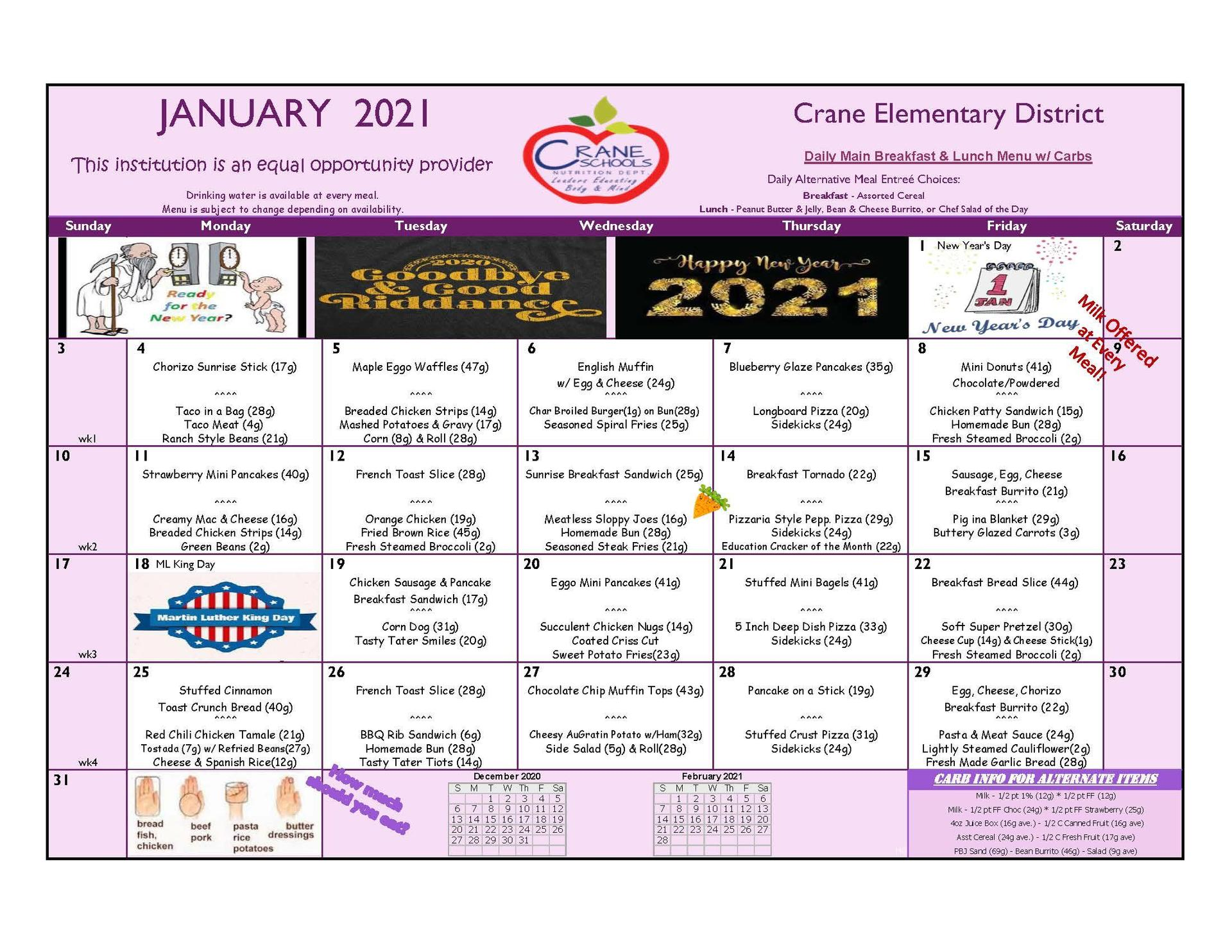 Crane Schools January 2021 Menu