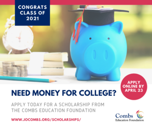 Combs Education Foundation Scholarship Promotional Graphic
