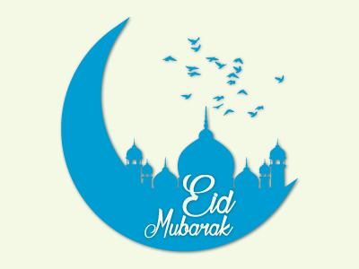 blue crescent moon celebration Eid al Fitr