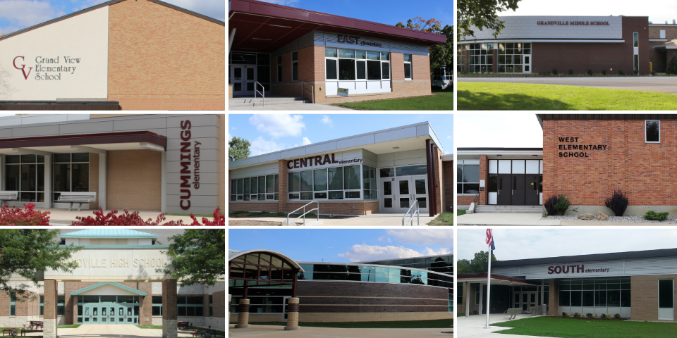 Collage of the front exteriors of nine brick schools