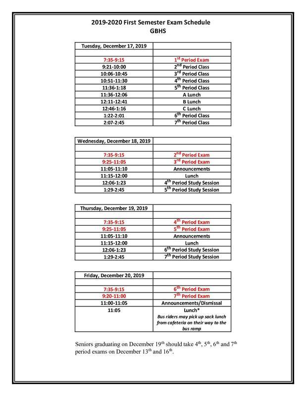 First Semester Exam Schedule