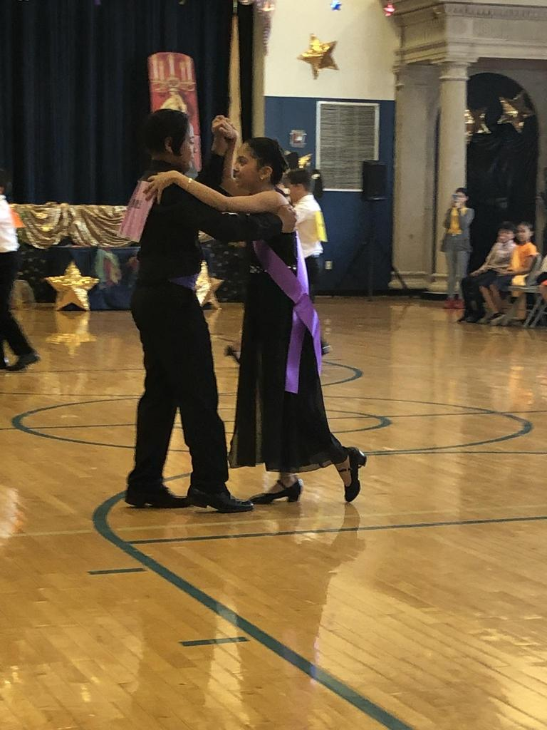 one couple dancing at the semi final competition