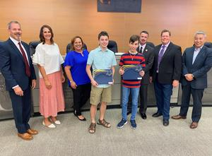 Comal ISD Board of Trustees with Xander and Zereth Reston