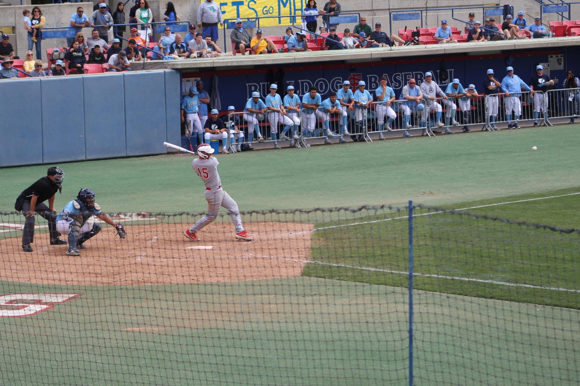 Austin Hickman bats