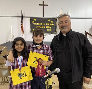 Arianna Bhakta, Diego Bernal, Fr. Ray Yrlas, jr.