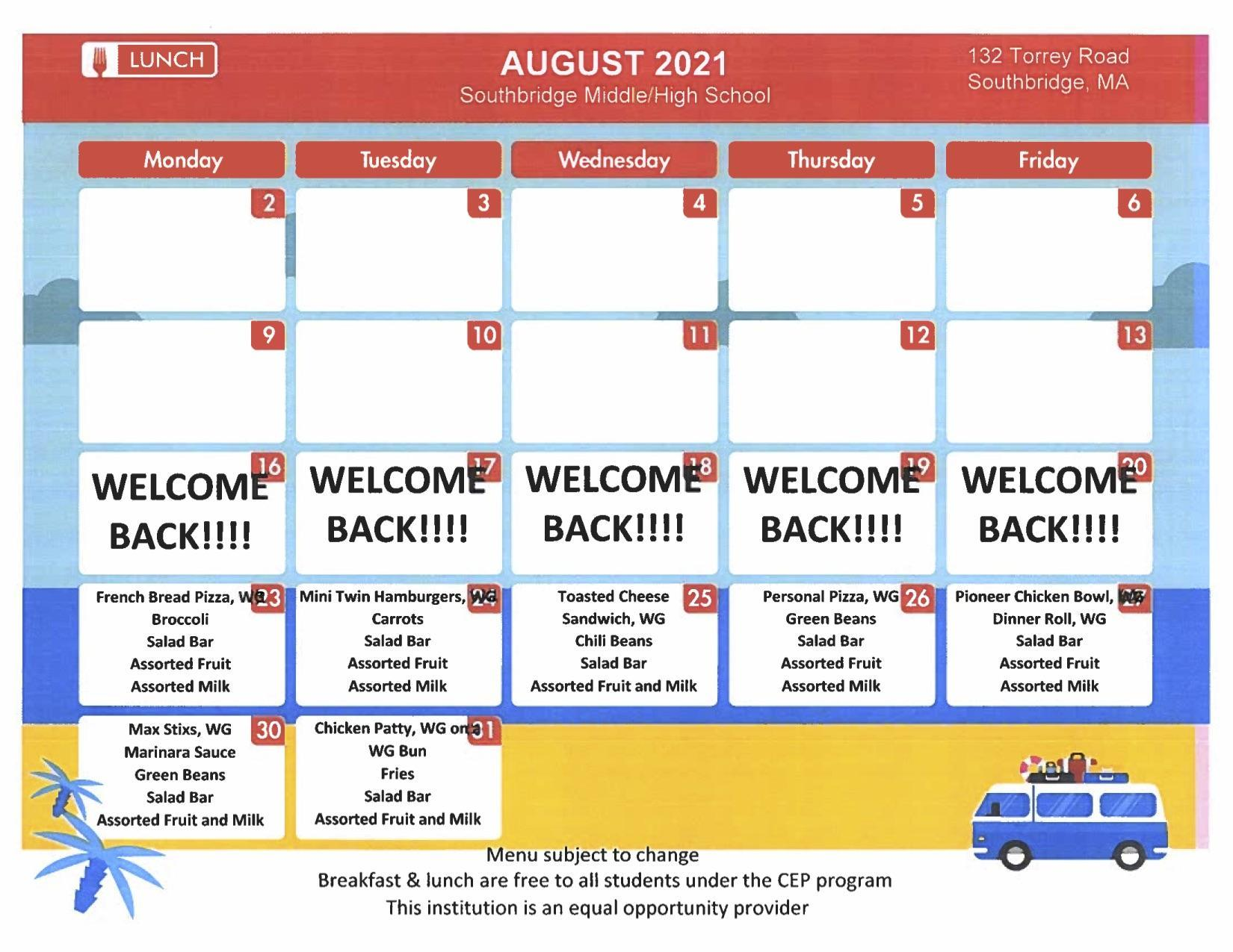 August 2021 menu for secondary schools. PDF version also available on this page.