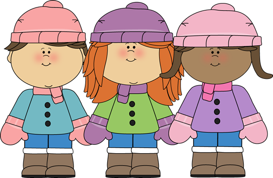 children wearing warm winter gear