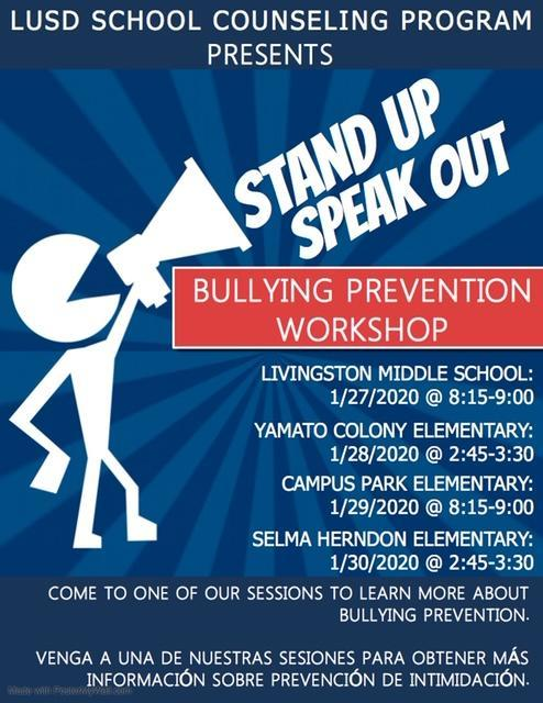 Bullying Prevention Workshop poster