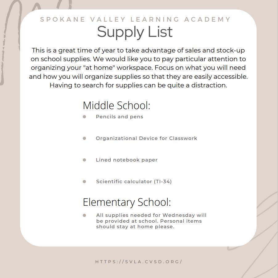 SVLA's School Supply List