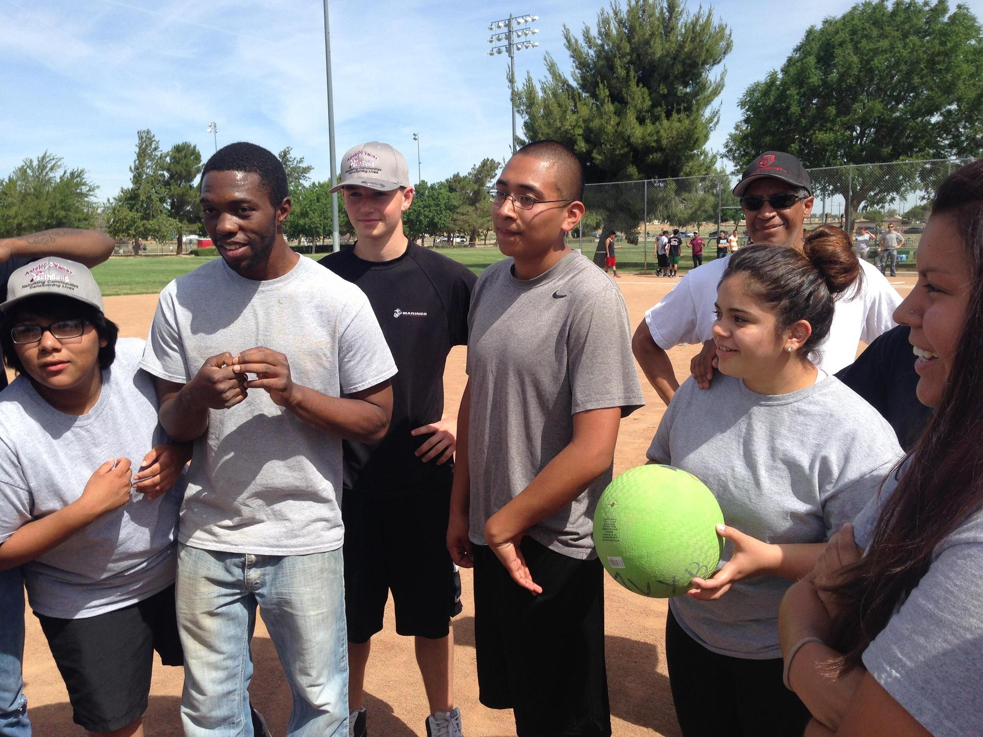 Palmdale students with a kickball
