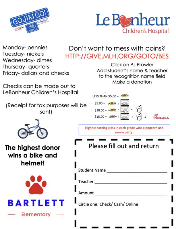 Go Jim Go Donations for LeBonheur Hospital Sept. 20th-24th Featured Photo