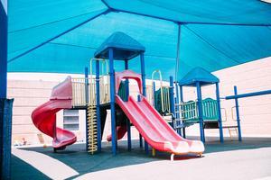 Enclosed playground.