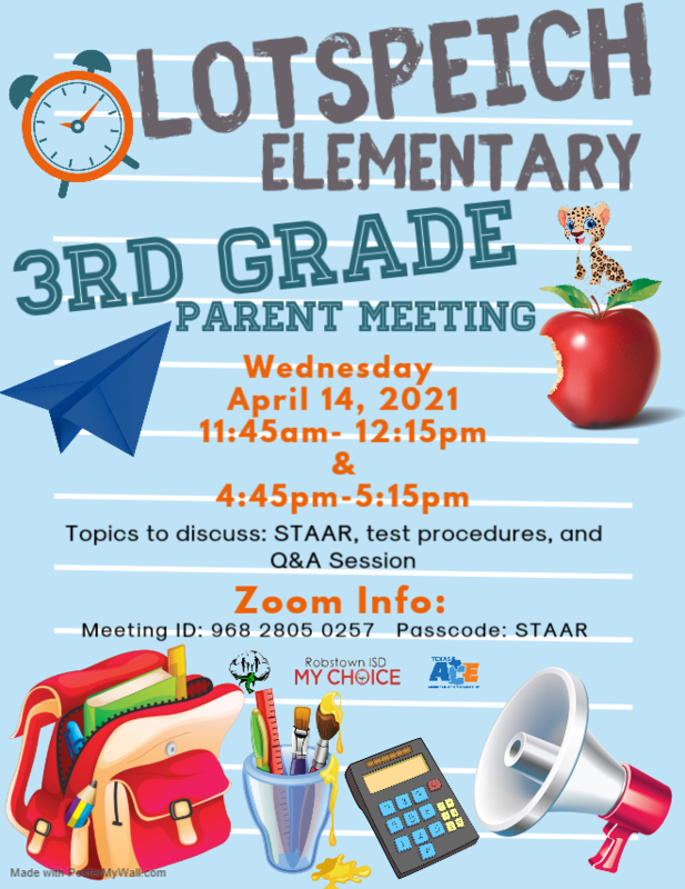 Lotspeich 3rd Grade Parent/Guardian Zoom-STAAR Topic Featured Photo