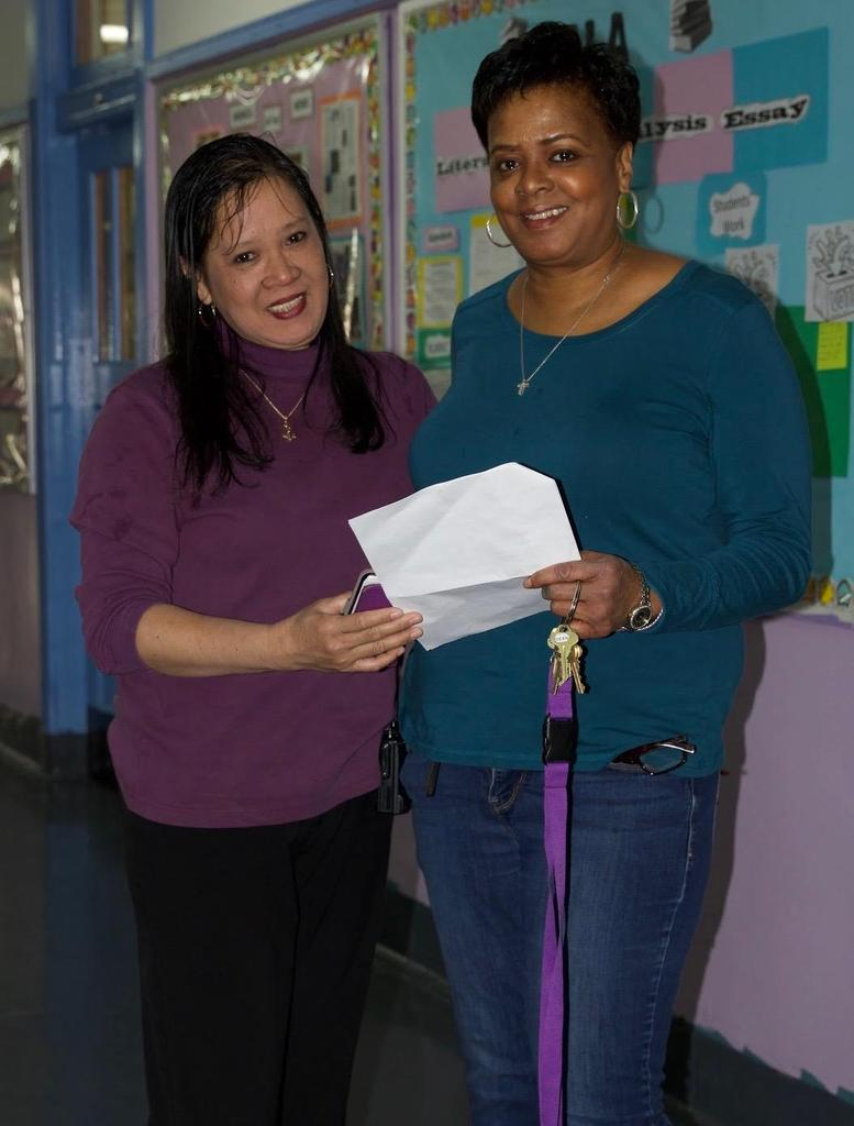 teacher with Ms.Brown smiling