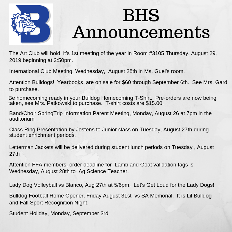Announcement Week of August 26