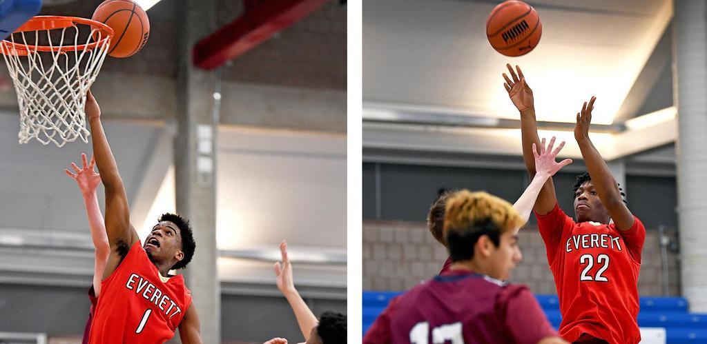 A split image of two boys basketball players shooting the basketball