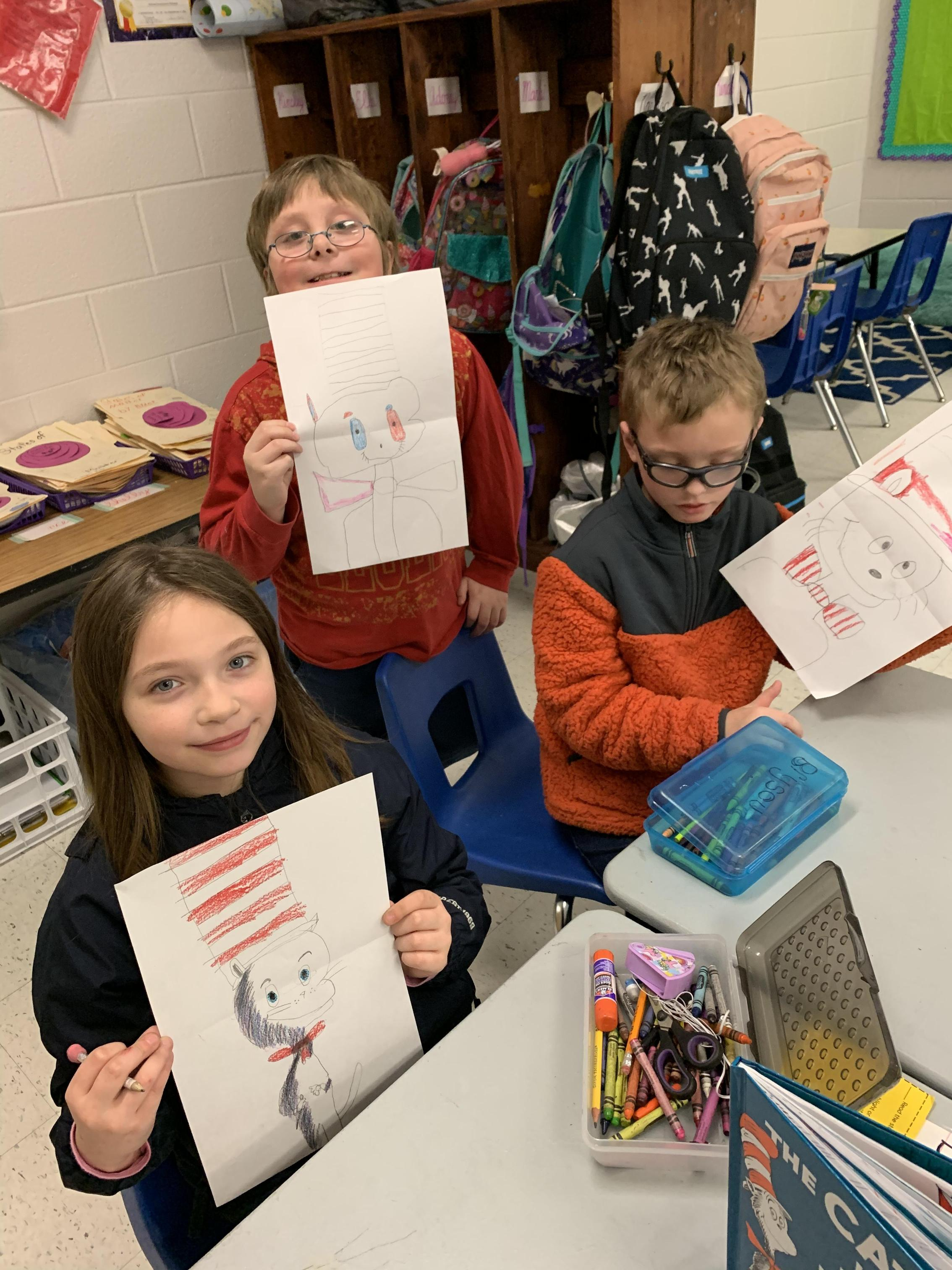 Third grade with their Cat in the Hat drawings
