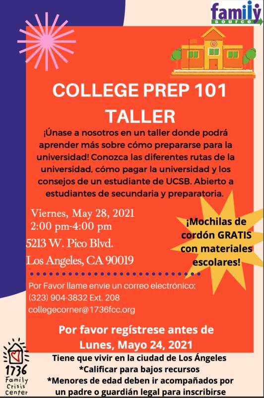 TALLER DE PREPARACIÓN UNIVERSITARIA 101 Viernes, 28 de mayo de 2021 2:00 pm-4: 00 pm (Haga clic en el enlace para ver el folleto) Featured Photo