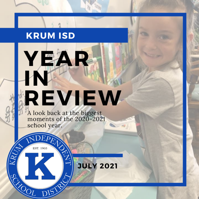 photo of young female student at board faded with text overlay reading year in review and thh krum isd seal
