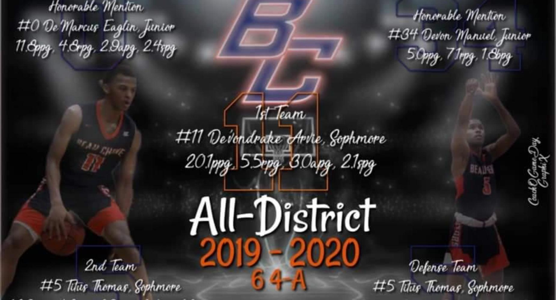 2019-2020 Basketball -All District - Donvodrake Arvie and Titus Thomas