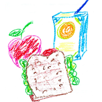 Crayon drawing of apple, sandwich, and juice box.