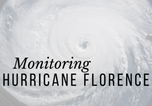 Monitoring Hurricane Florence Header with Satellite Image of the Hurricane