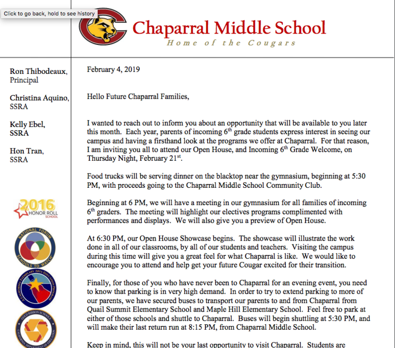 Chaparral Middle School Open House Feb. 21! Featured Photo