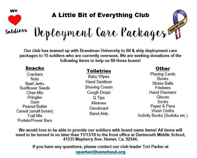 Everything Club Deployment Care Package Items